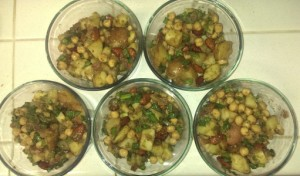 2015-02-05 Potato Almond Onion Garbanzo Salad